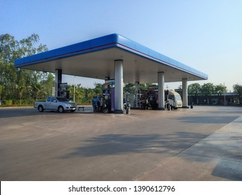 Roi Et, Thailand-April 29, 2019 : PTT Gas Station Which is the most famous oil company in Thailand