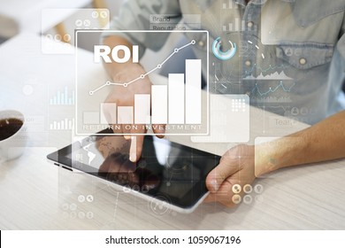 ROI, Return on investment business and technology concept. Virtual screen background.