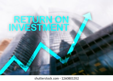 ROI - Return on investment. Stock trading and financial growth concept on blurred business center background