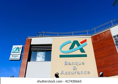 ROISSY EN BRIE, FRANCE - MAY 7, 2016: Credit Agricole bank. The Credit Agricole group in 2013 recorded a turnover of 26.4 billion euros.
