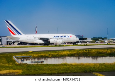 Roissy, France -June 2019- Four-engine long range aircraft Airbus A380, in service at Air France, on the tarmac of Paris Airport ; this double-decked super jumbo is the biggest airliner worldwide
