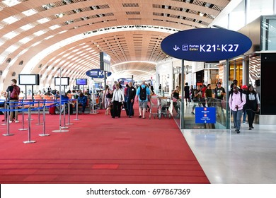 Roissy, France - may 5 2017 : departure lounge in the Paris Charles de Gaulle airport