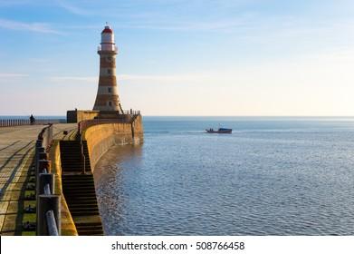 Roker Lighthouse on the North Pier, Sunderland, UK
