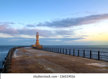 Roker lighthouse and pier in sunderland,england