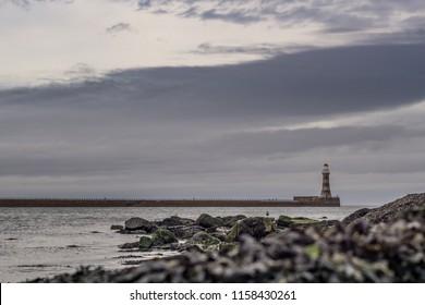 Roker lighthouse in Sunderland. North east coast of England.