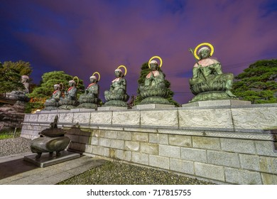 Rokujizo statues of the six Bodhisattvas and Jokoro at Zenko-ji Temple complex in Nagano. Protectors of the six realms of hell, starvation, beasts, carnage, human beings and divine beings