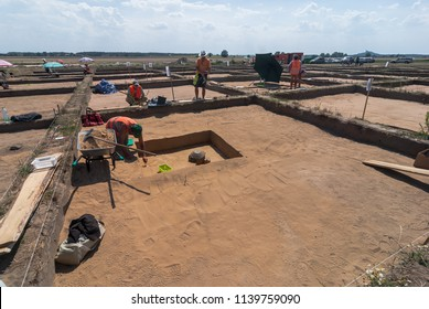 ROKYTNO, CZECH REPUBLIC - JULY 5, 2018: Archeological excavation site of the bronze age cemetery near Pardubice, Czech republic. Urns date back to lusatian culture (1300 BC – 500 BC).