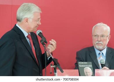 Roland Koch, german politician (CDU) with Lothar De Maiziere, at the Frankfurt Bookfair / Buchmesse Frankfurt 2010 in Frankfurt am Main, Germany