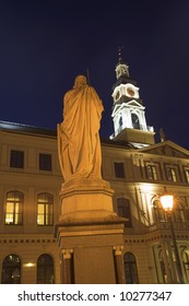 The Roland Statue And Town Hall, Old Town Square, Riga, Latvia