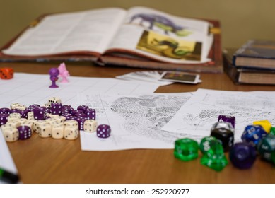 role playing game set up on table on beige background - stock photo