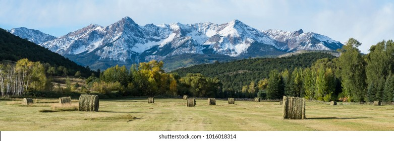 Roles of hay on a ranch near the Dallas divide Mountains in Southwest Colorado