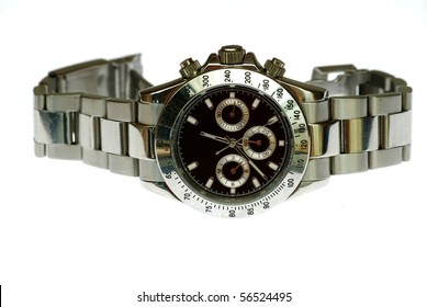 rolex wrist watch isolated in white