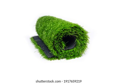 roll of artificial grass isolated on white background.