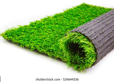 roll of artificial grass mat isolated on a white background