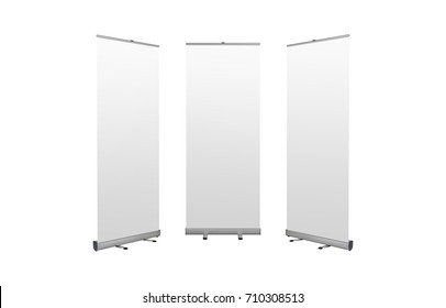 Roll up banners stand. Blank template mockup. Exhibition stand roll-up banners, isolated screens for you design.