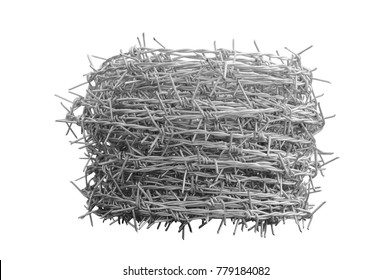 Roll of barbed wire on isolated white background.,Clipping path