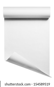 Roll of blank white paper ready for type, isolated with clipping path