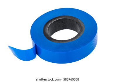 Roll of blue insulating tape isolated on white background
