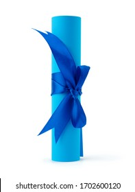 roll of blue paper tied with a silk blue ribbon, bundle isolated on a white background