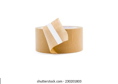 Roll of brown tape isolated on white background