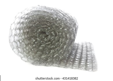 Roll of bubble wrap isolated on white