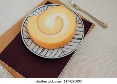 Roll cake cream, sweet, dessert