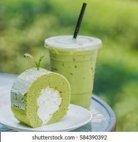Roll cake and ice green tea, popular manu in Shui fong farm, Chiang rai, Thailand