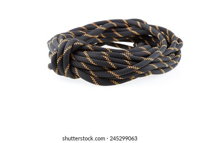 roll of climbing rope isolated on white