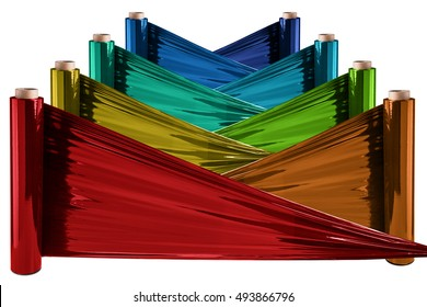 Roll of colorful wrapping plastic stretch film.  Isolated on white background.