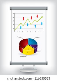 Roll up display stand with charts