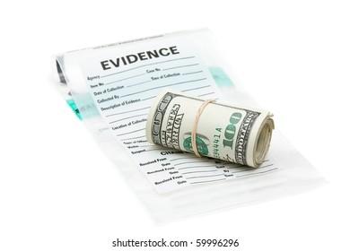 Roll of dollar bills on evidence bag