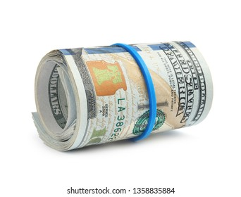 Roll of dollar bills with rubber band on white background