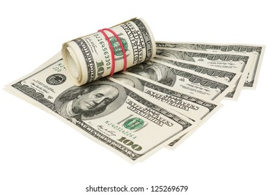 Roll of dollars with rubber band