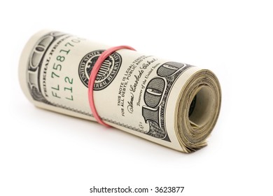 a roll of dollars with white background