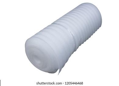 Roll of foamed polyethylene,white foam polyethylene roll on a white background, foam polyethylene lining under laminate