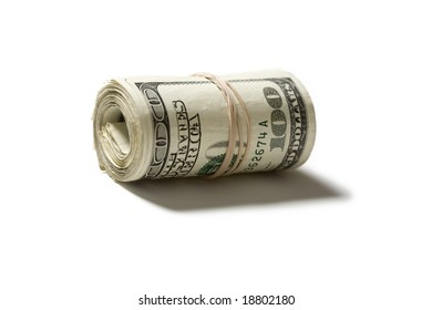 Roll of hundred dollar bills isolated on a white background