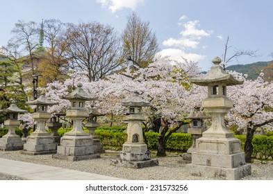 Roll of Japanese stone lanterns in Zenkoji temple