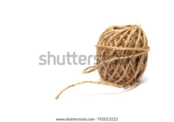 Roll Jute Rope On White Background Stock Photo (Edit Now