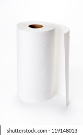 roll of kitchen paper on white