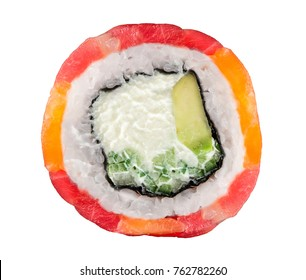 Roll made with tuna, salmon, scallop isolated over white background