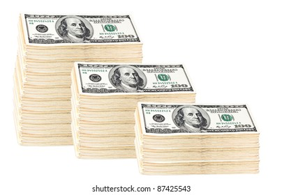 Roll of money of 100 dollars isolated on white