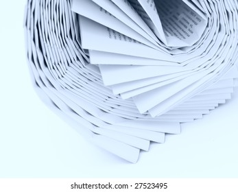 roll of newspapers tinted blue isolated