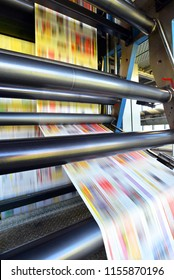roll offset print machine in a large print shop for production of newspapers & magazines