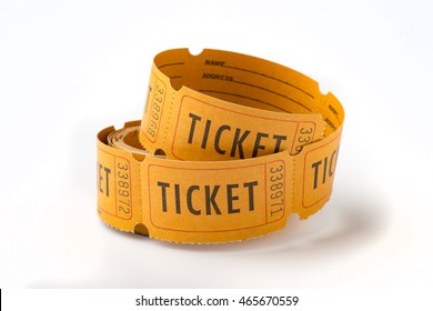 A roll of old paper tickets with numbers