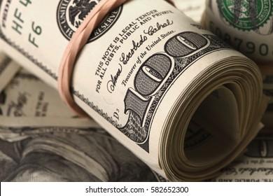Roll of One Hundred Dollar Bill