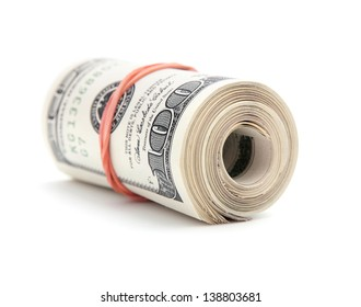 Roll of one hundred dollar bills isolated on a white background