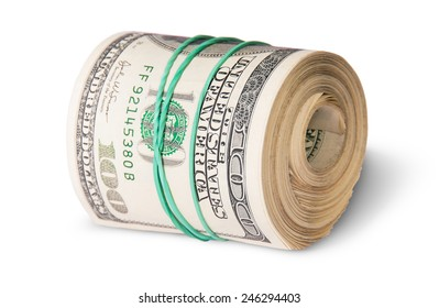 Roll Of One Hundred Dollar Bills Lying Horizontally Isolated On White Background