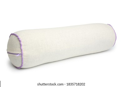 Roll orthopedic pillow with buckwheat husk on white background