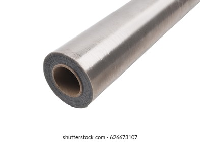 Roll of a packing film of silvery color