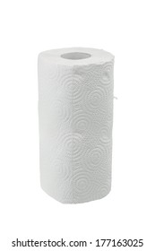 Roll of paper towel isolated on white background